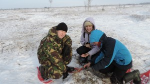 Researchers in the snow