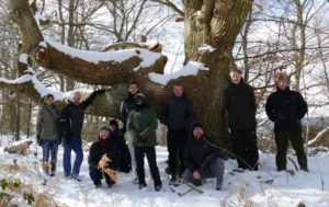 Workshop participants by ancient tree, Vilm