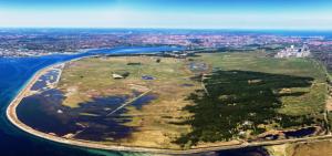 aerial photo of wetland center
