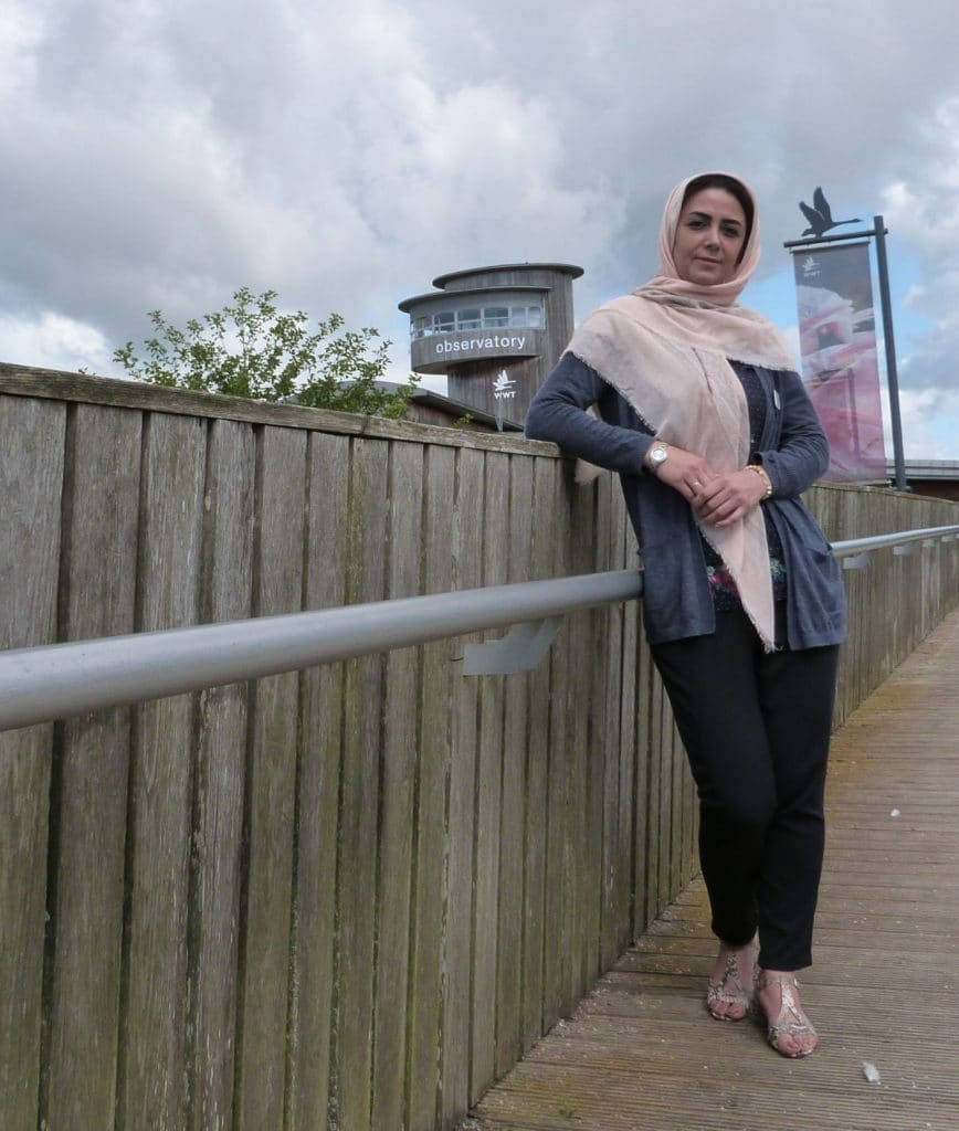 2019 intern Samaneh Azizi in front of Slimbridge Wetland Centre