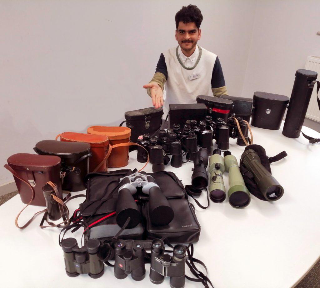 Many binoculars and telescopes