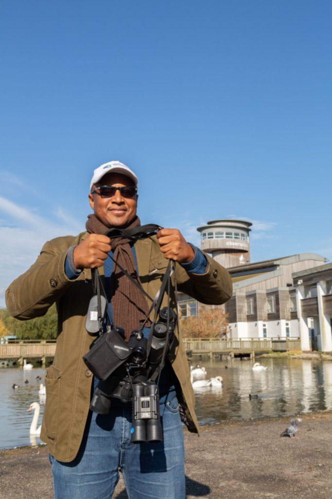 Ibrahim with many binoculars