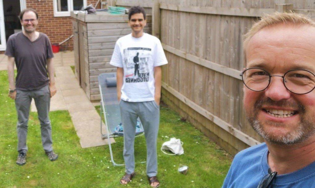 Socially distanced Chris Rostron, Adil Boulahia, Connor Walsh in garden