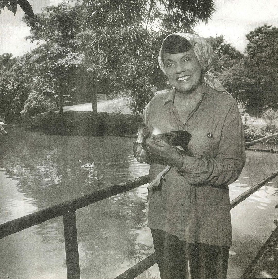 Molly Gaskin with a duck