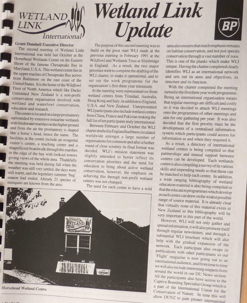 Old newsletter with b&w photo of wetland centre