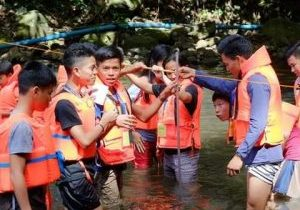 Students in river