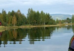 Young person on boat in lake with birch and conifers around