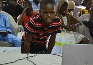 Child asking question during video conference